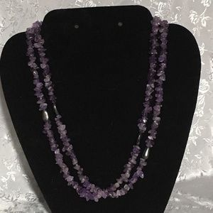 Purple Amethyst Double Necklace